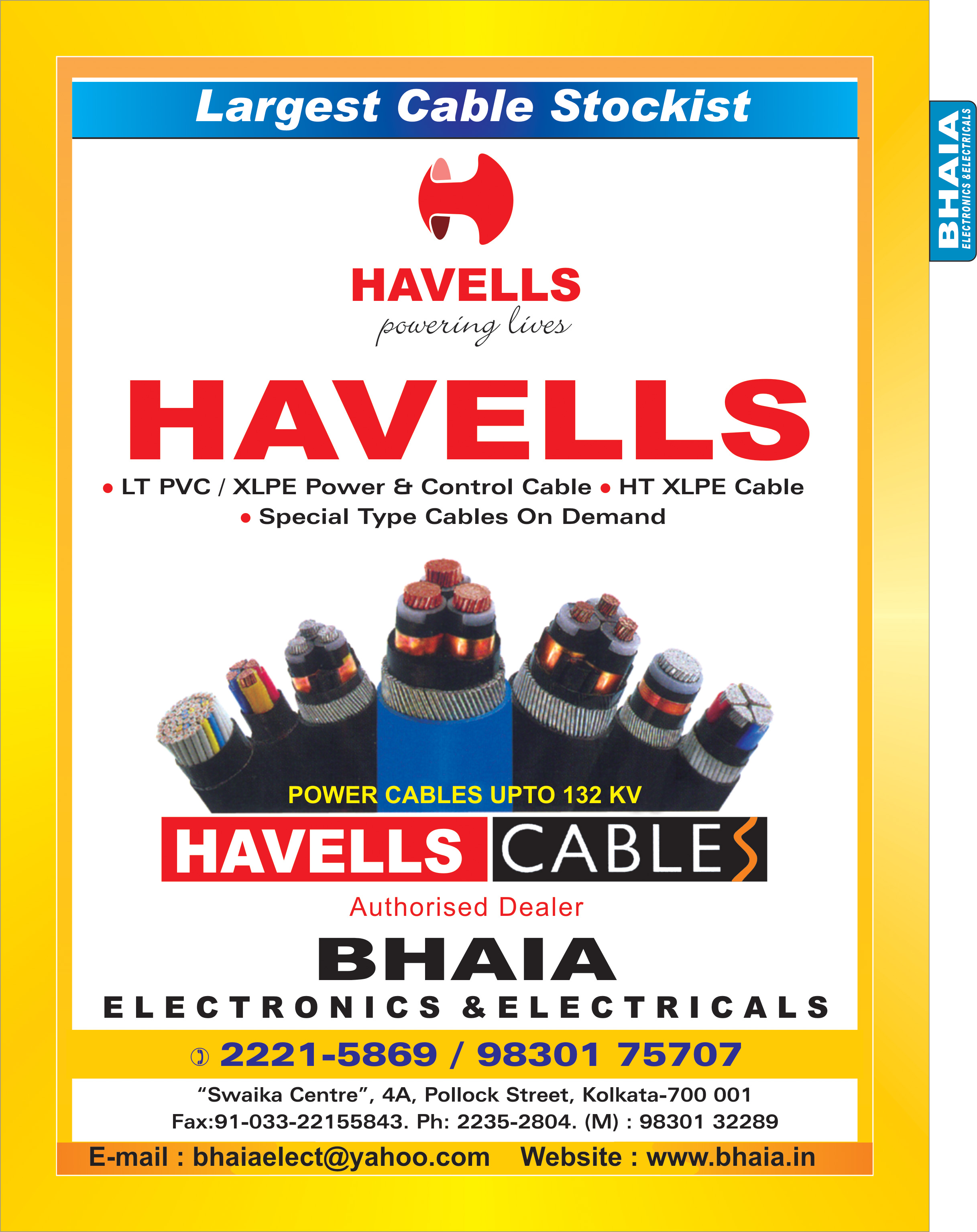 Cables, BHAIA ELECTRONICS & ELECTRICALS, Kolkata,  Yellow Pages, Kolkata, West Bengal