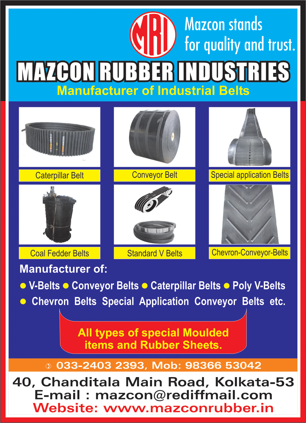 Belts Industrial, MAZCON RUBBER INDUSTRIES, Kolkata,  Yellow Pages, Kolkata, West Bengal
