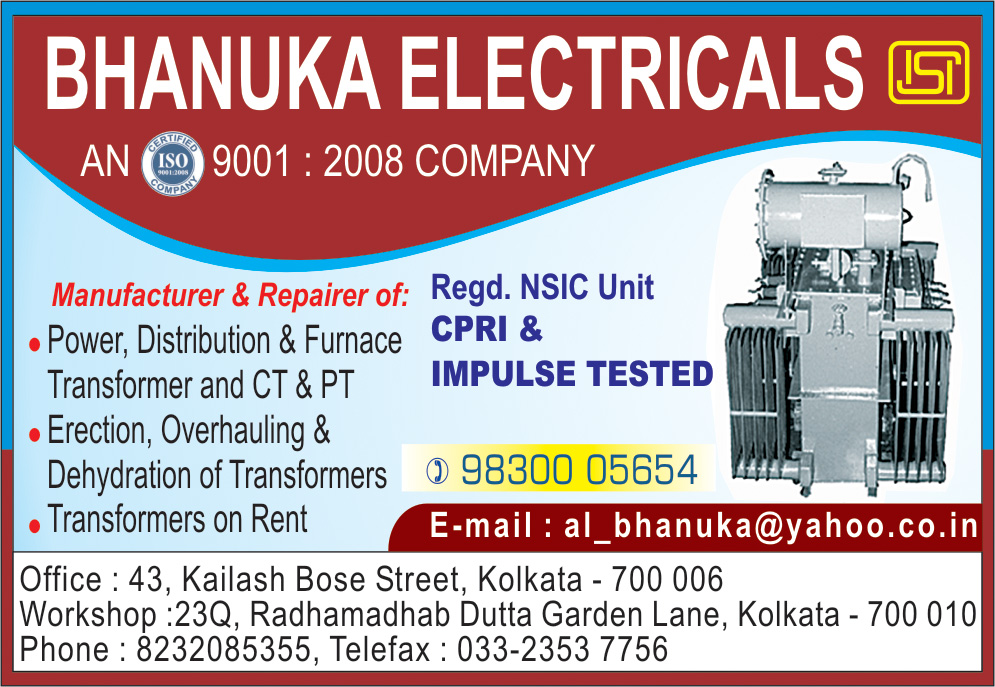 BHANUKA ELECTRICALS Transformers and Parts Kolkata Yellow Pages Kolkata West Bengal