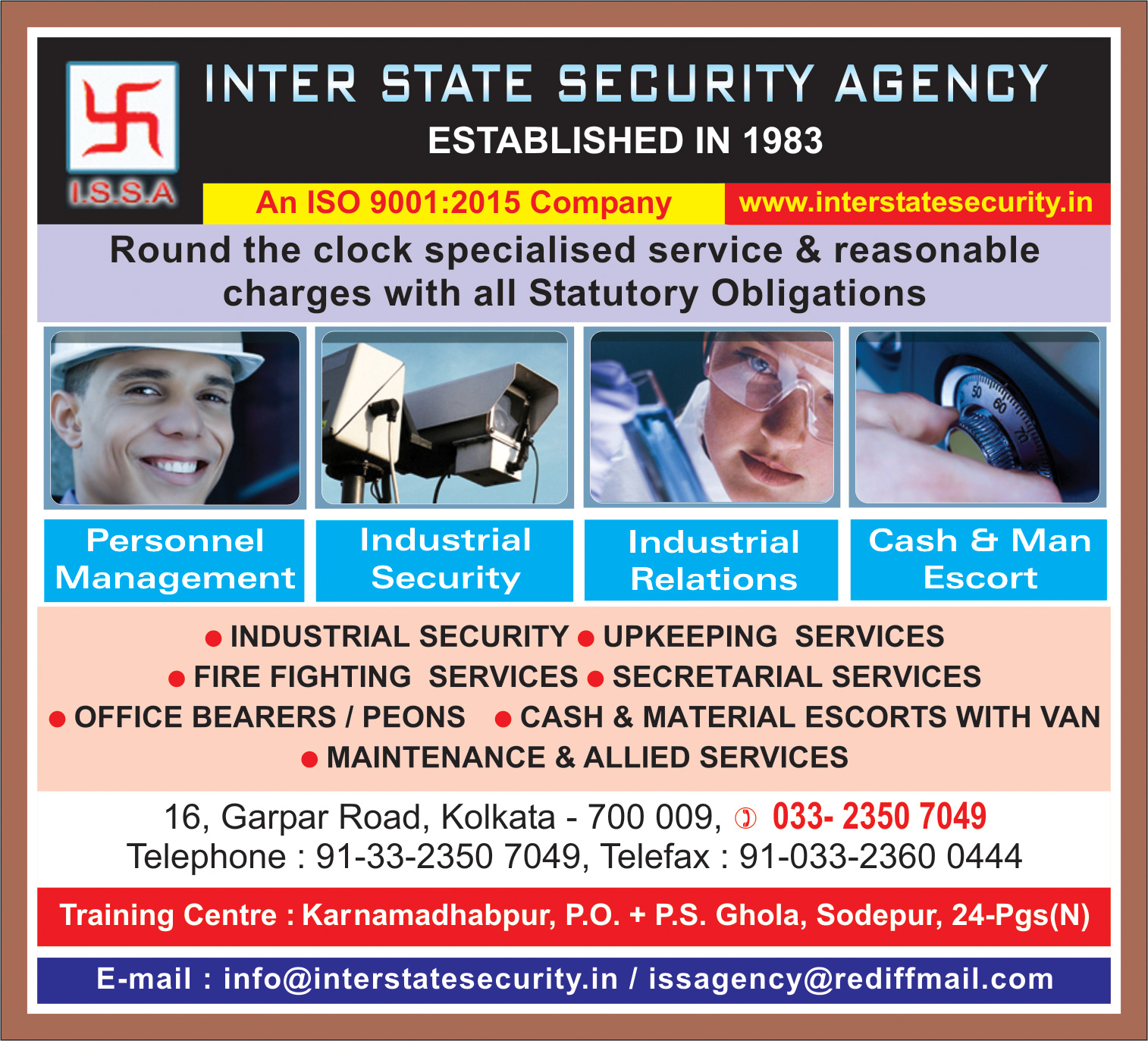 Security Services, INTER STATE SECURITY AGENCY, Kolkata,  Yellow Pages, Kolkata, West Bengal
