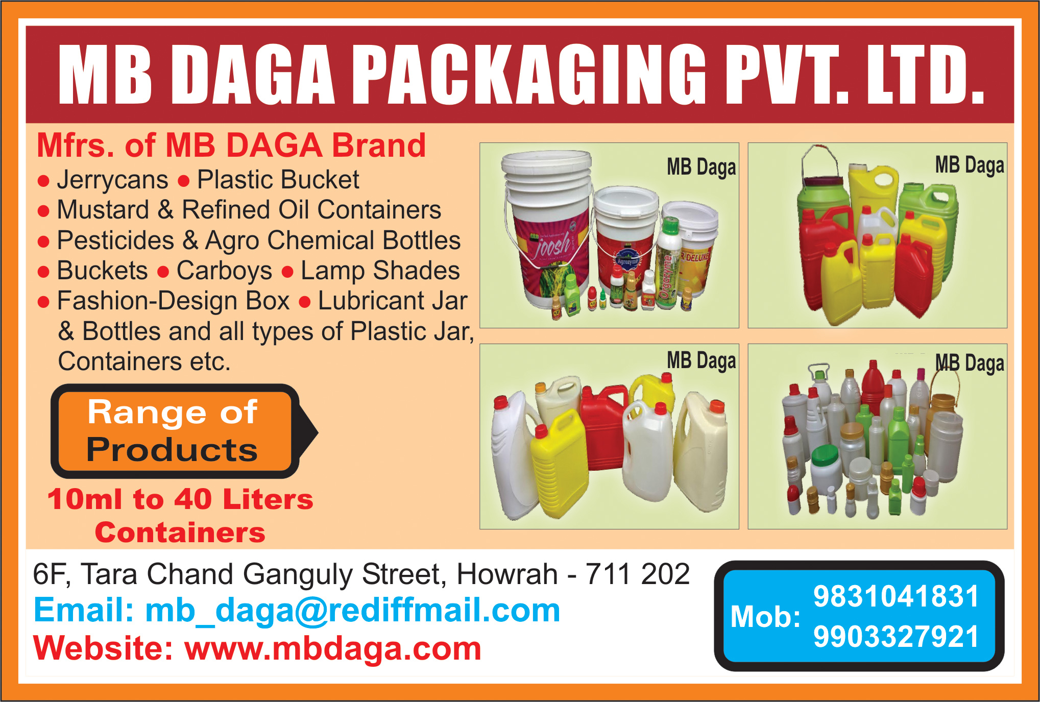 Jerrycans Plastic, M B DAGA PACKAGING PVT LTD, Kolkata,  Yellow Pages, Kolkata, West Bengal