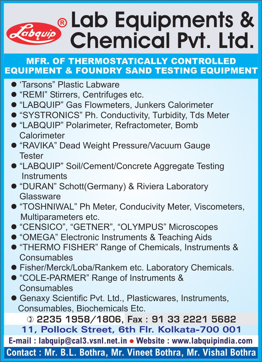 Scientific Apparatus and Chemicals, LAB EQUIPMENTS & CHEMICAL PVT LTD, Kolkata,  Yellow Pages, Kolkata, West Bengal