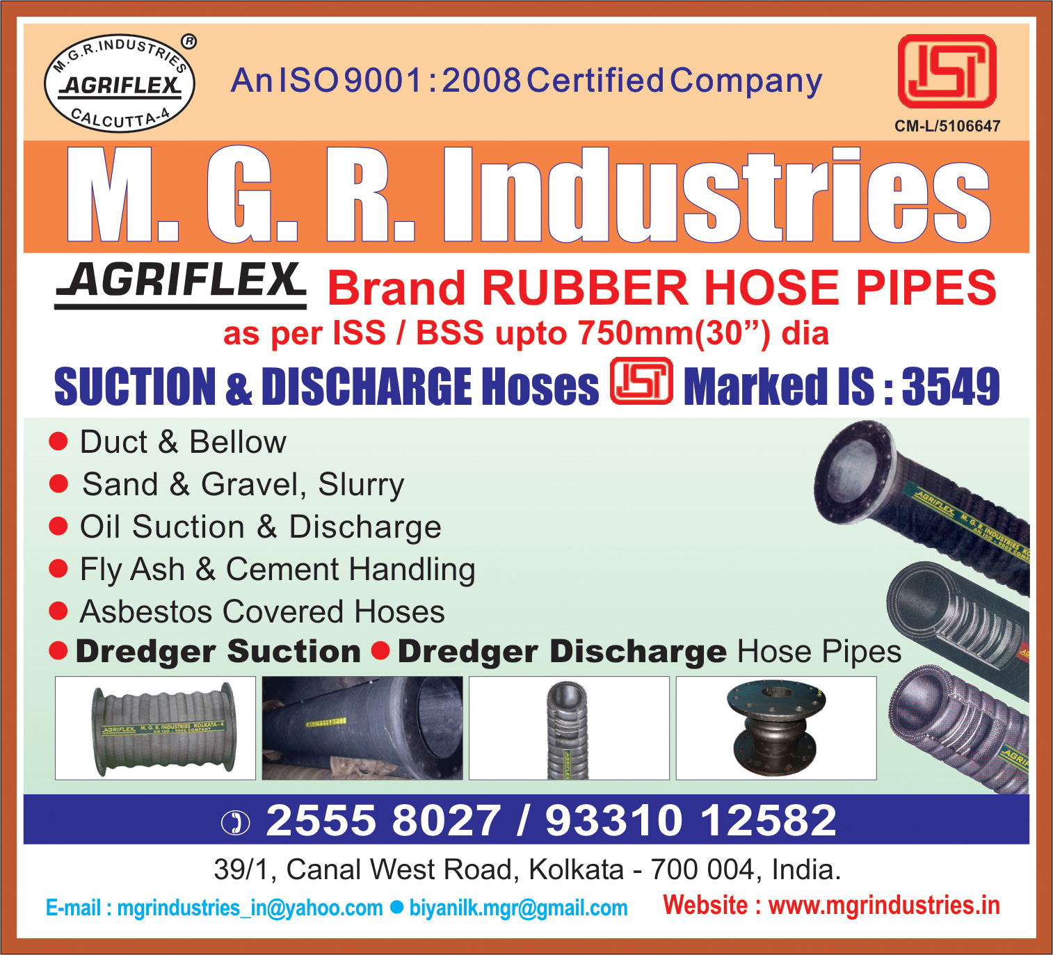 M G R INDUSTRIES Hoses Kolkata Yellow Pages Kolkata West Bengal