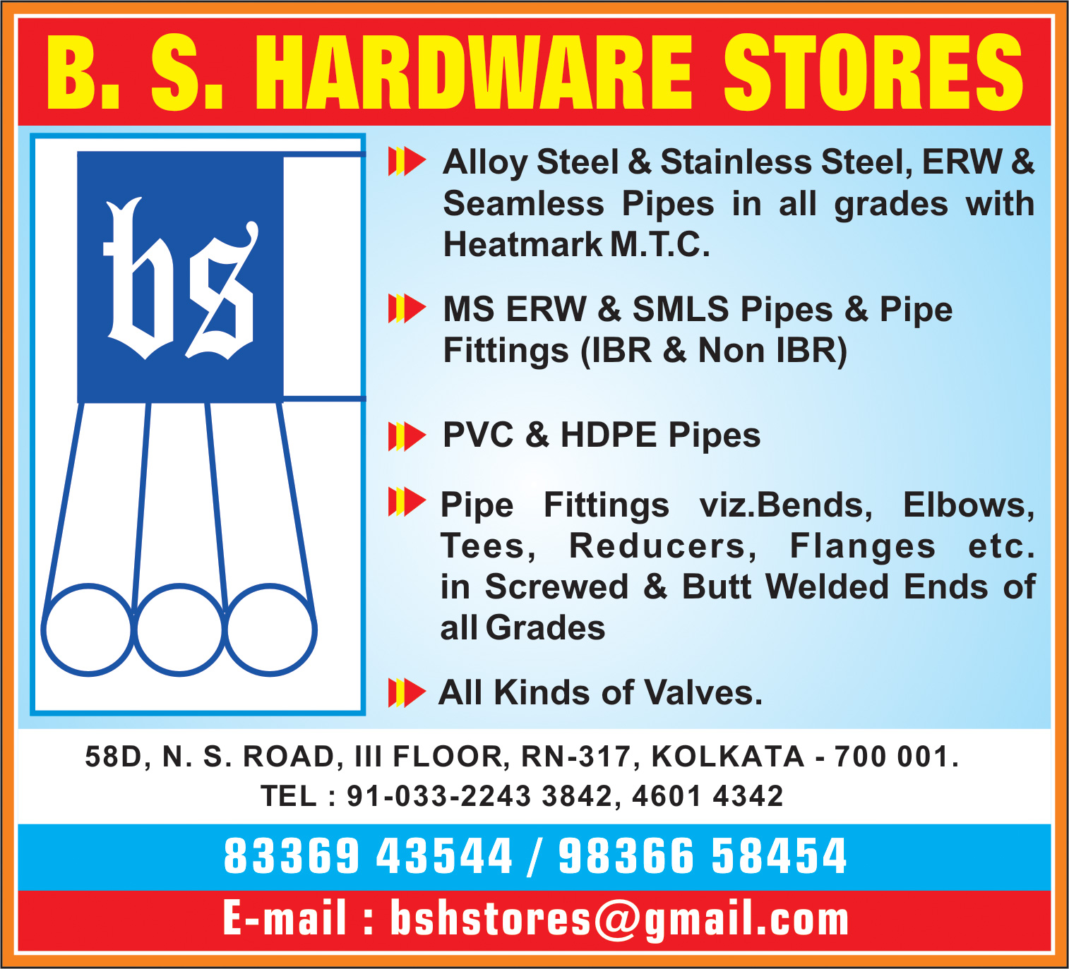 Pipes and Pipe Fittings, B S HARDWARE STORES, Kolkata,  Yellow Pages, Kolkata, West Bengal