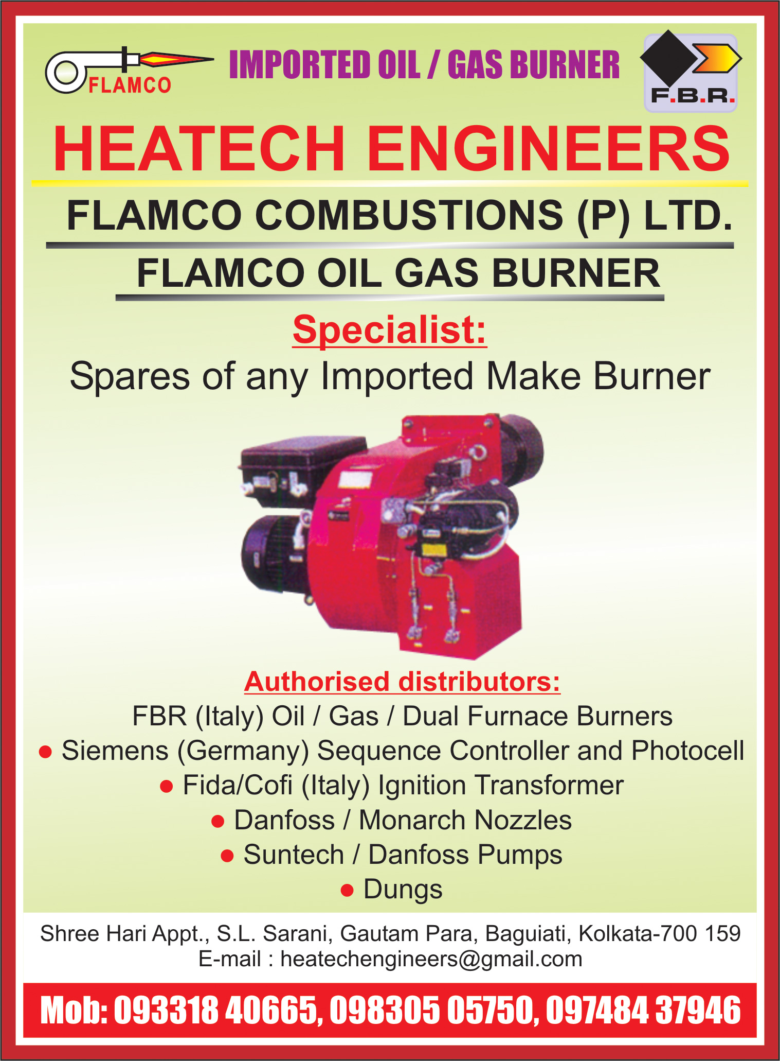 Burners Industrial, HEATECH ENGINEERS, Kolkata,  Yellow Pages, Kolkata, West Bengal