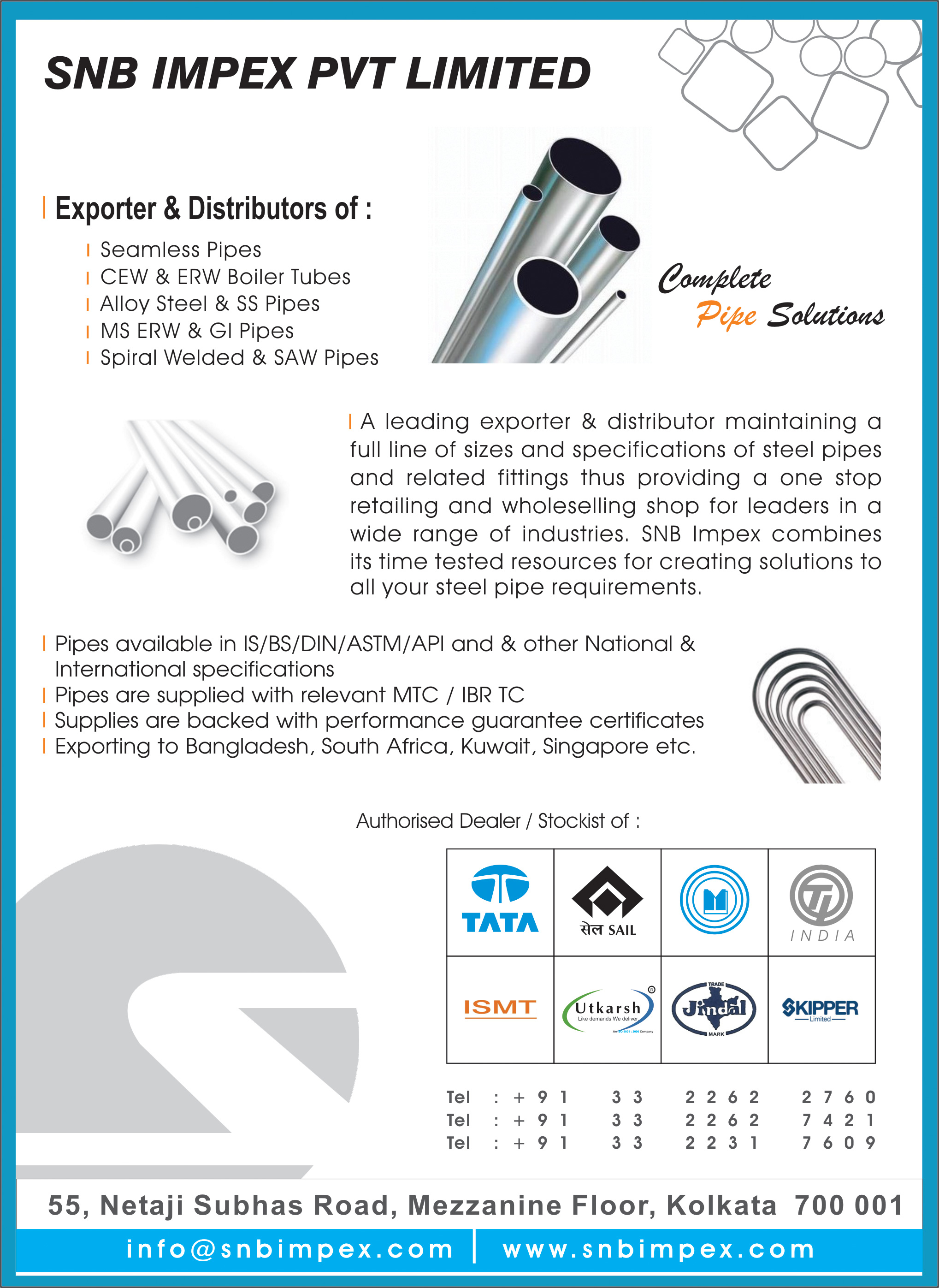 Pipes and Pipe Fittings, SNB IMPEX PVT LTD, Kolkata,  Yellow Pages, Kolkata, West Bengal