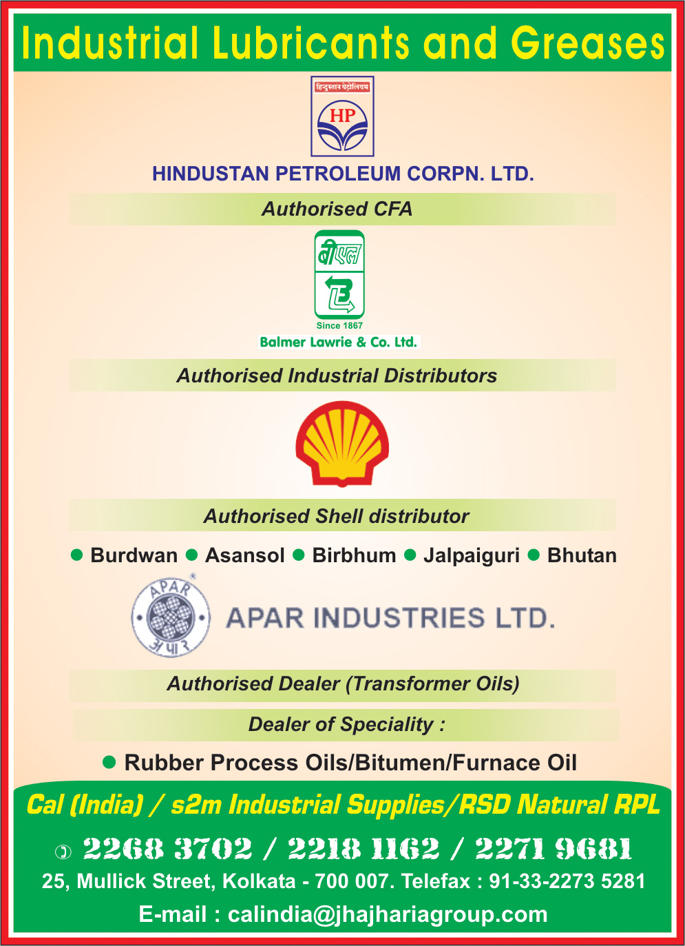 CAL (INDIA) Lubricants Kolkata Yellow Pages Kolkata West Bengal