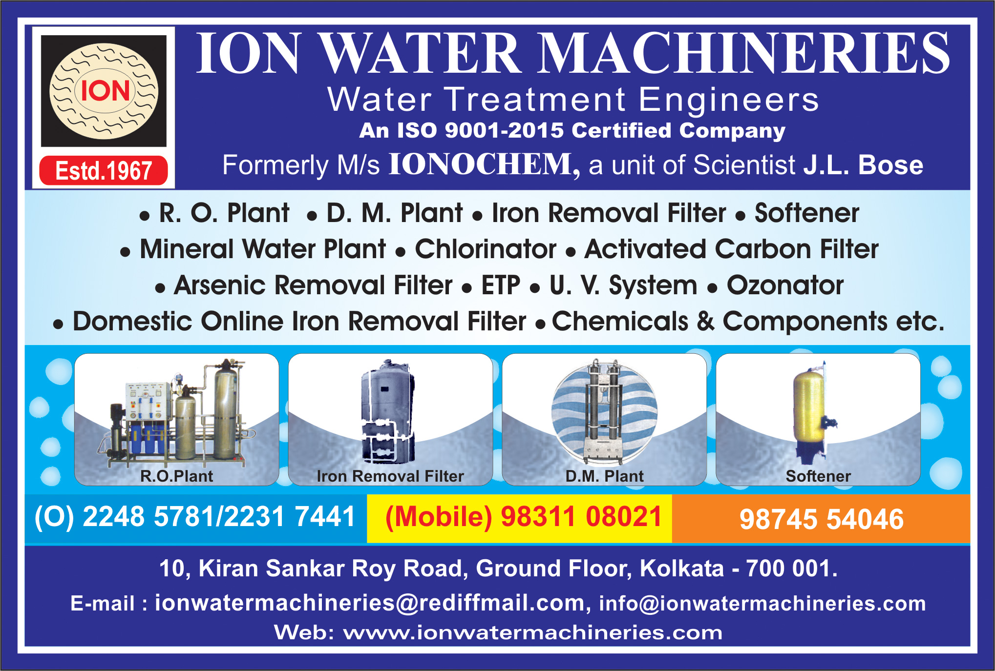 Water Treatment Equipment and Parts, ION WATER MACHINERIES, Kolkata,  Yellow Pages, Kolkata, West Bengal