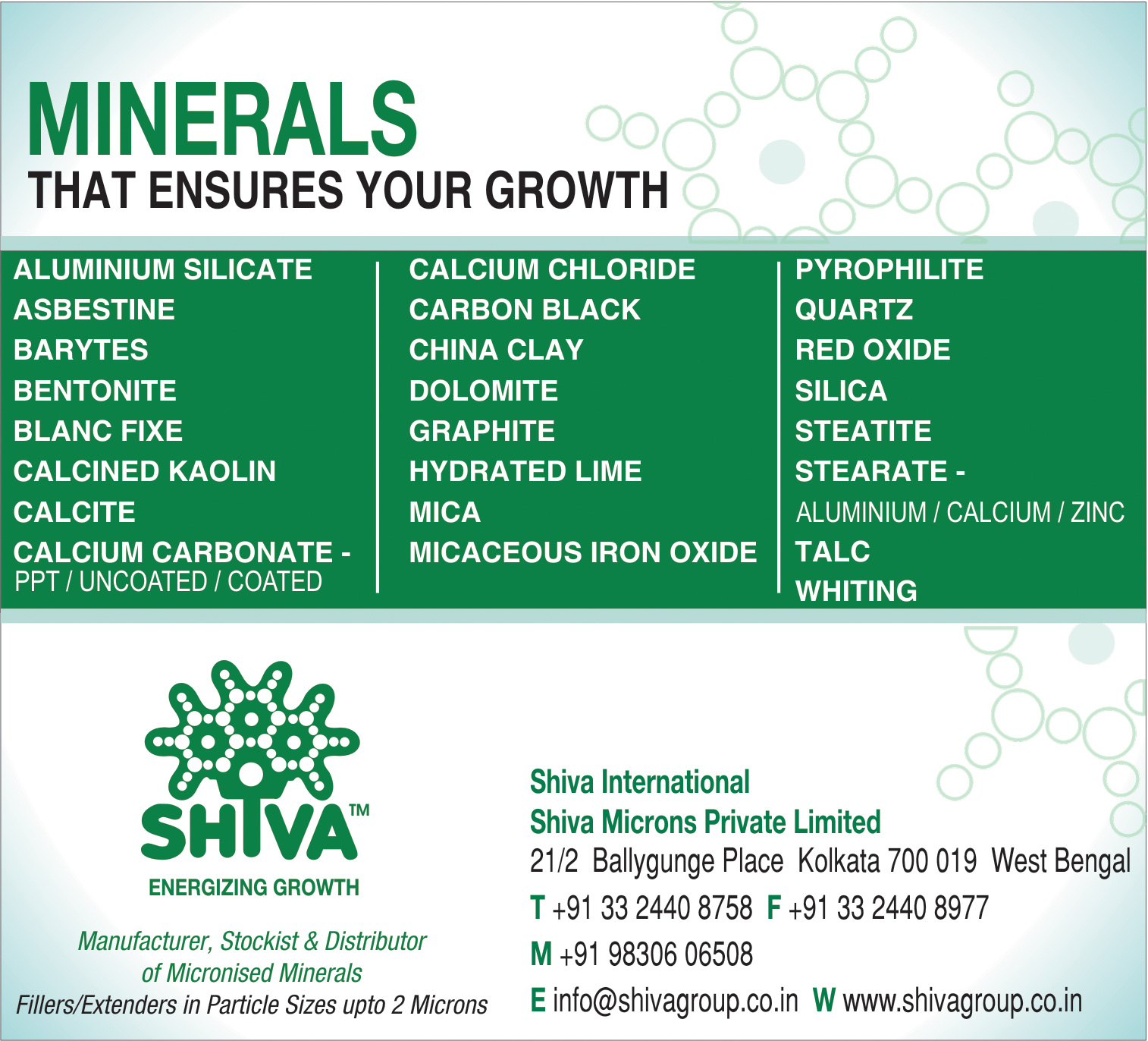 Minerals, SHIVA INTERNATIONAL, Kolkata,  Yellow Pages, Kolkata, West Bengal