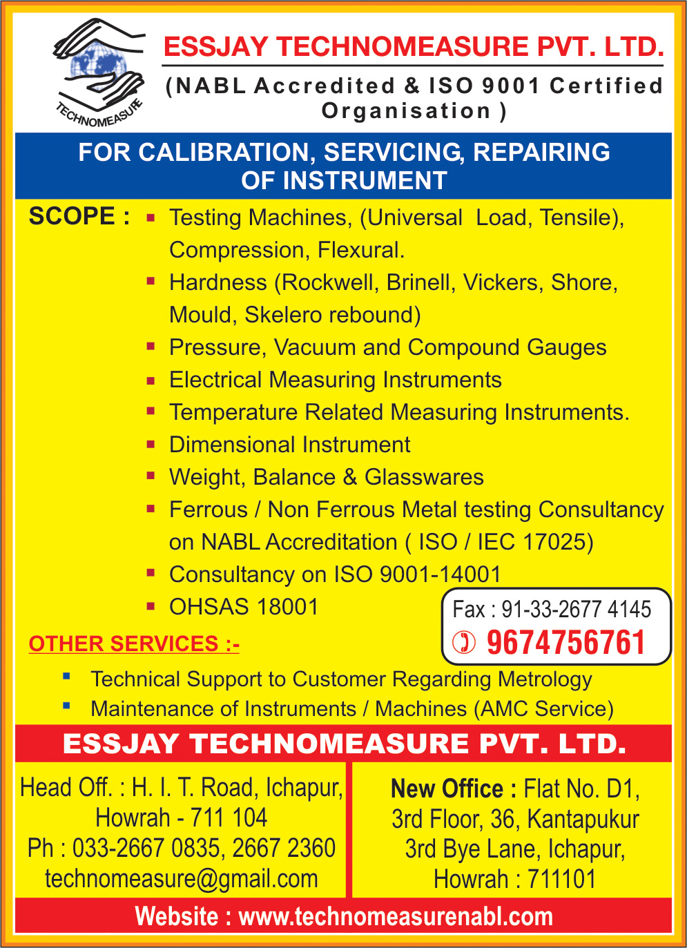 ESSJAY TECHNOMEASURE PVT LTD Calibrators Kolkata Yellow Pages Kolkata West Bengal