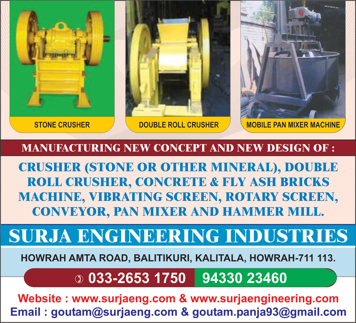 Crushing and Pulverising Equipment, SURJA ENGINEERING INDUSTRIES, Kolkata,  Yellow Pages, Kolkata, West Bengal