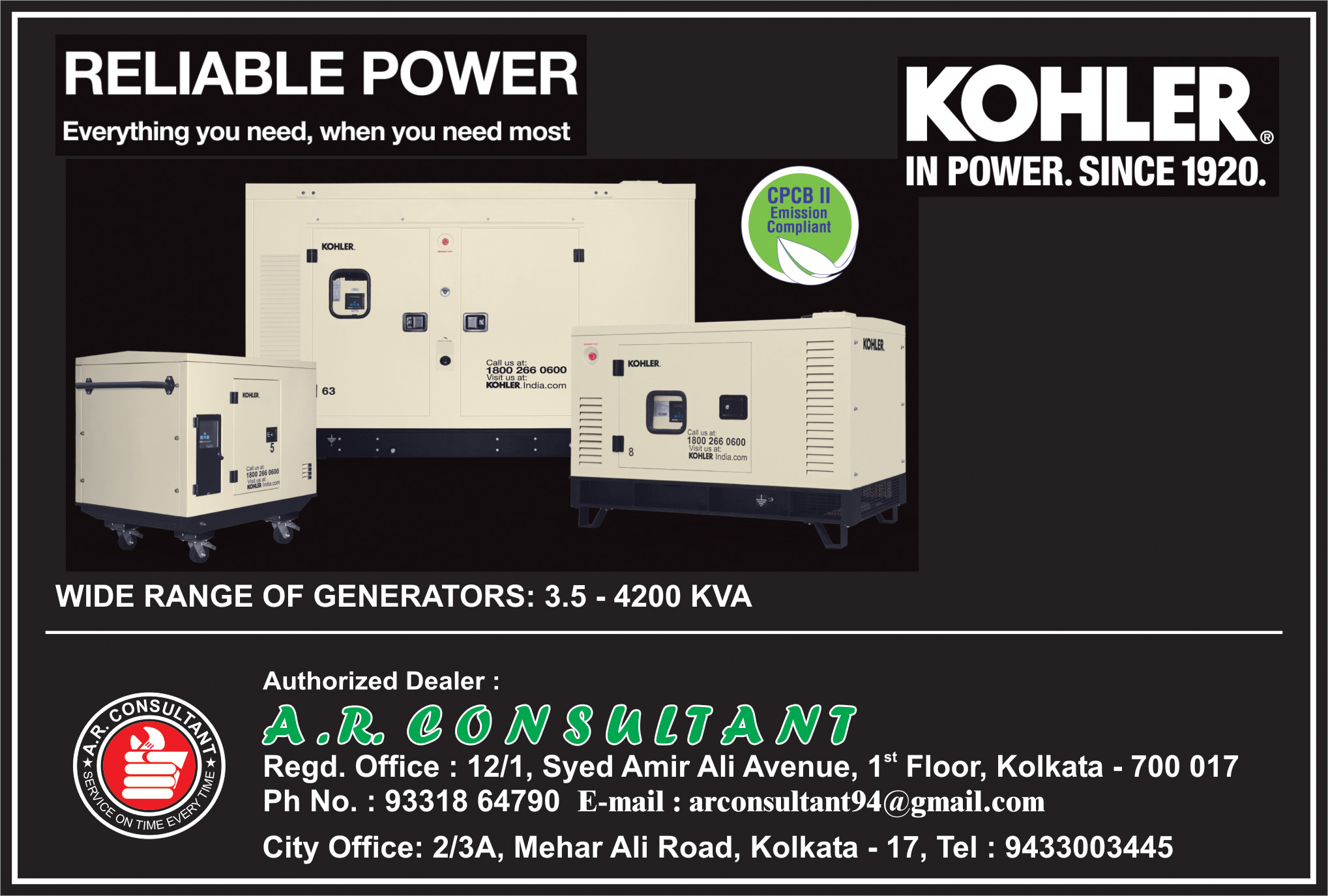 Generators and Spare Parts, A R CONSULTANT, Kolkata,  Yellow Pages, Kolkata, West Bengal