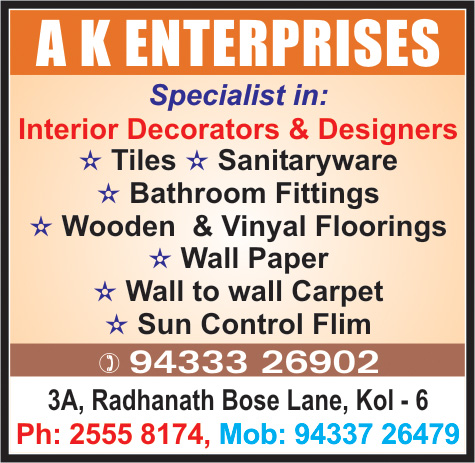 Interior Decorators and Designers, A K ENTERPRISES, Kolkata,  Yellow Pages, Kolkata, West Bengal
