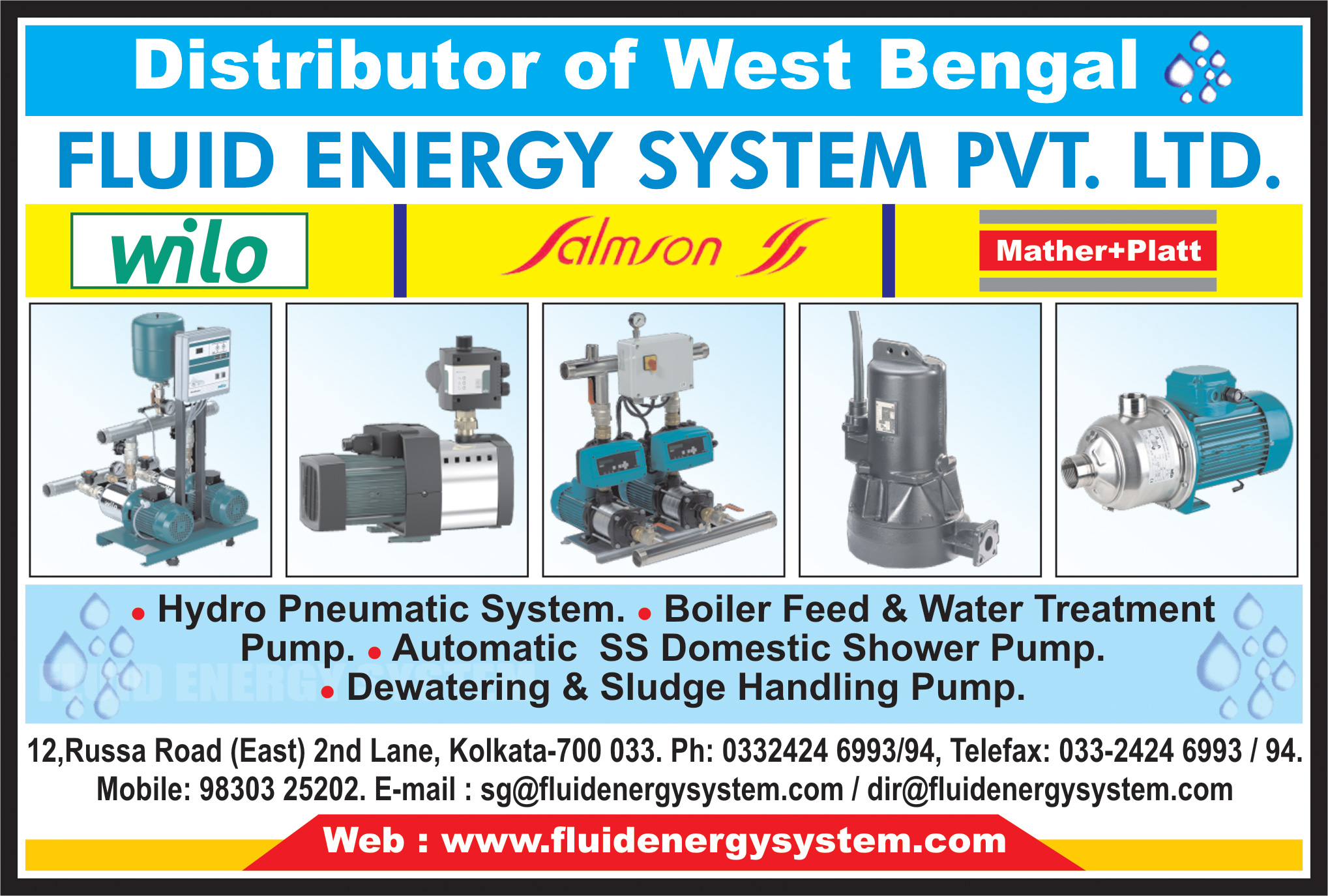 Pump Manufacturers and Distributors, FLUID ENERGY SYSTEM PVT LTD, Kolkata,  Yellow Pages, Kolkata, West Bengal