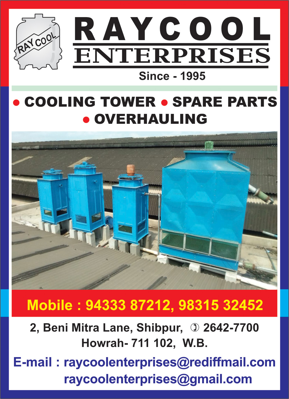 RAYCOOL ENTERPRISES Cooling Towers Kolkata Yellow Pages Kolkata West Bengal