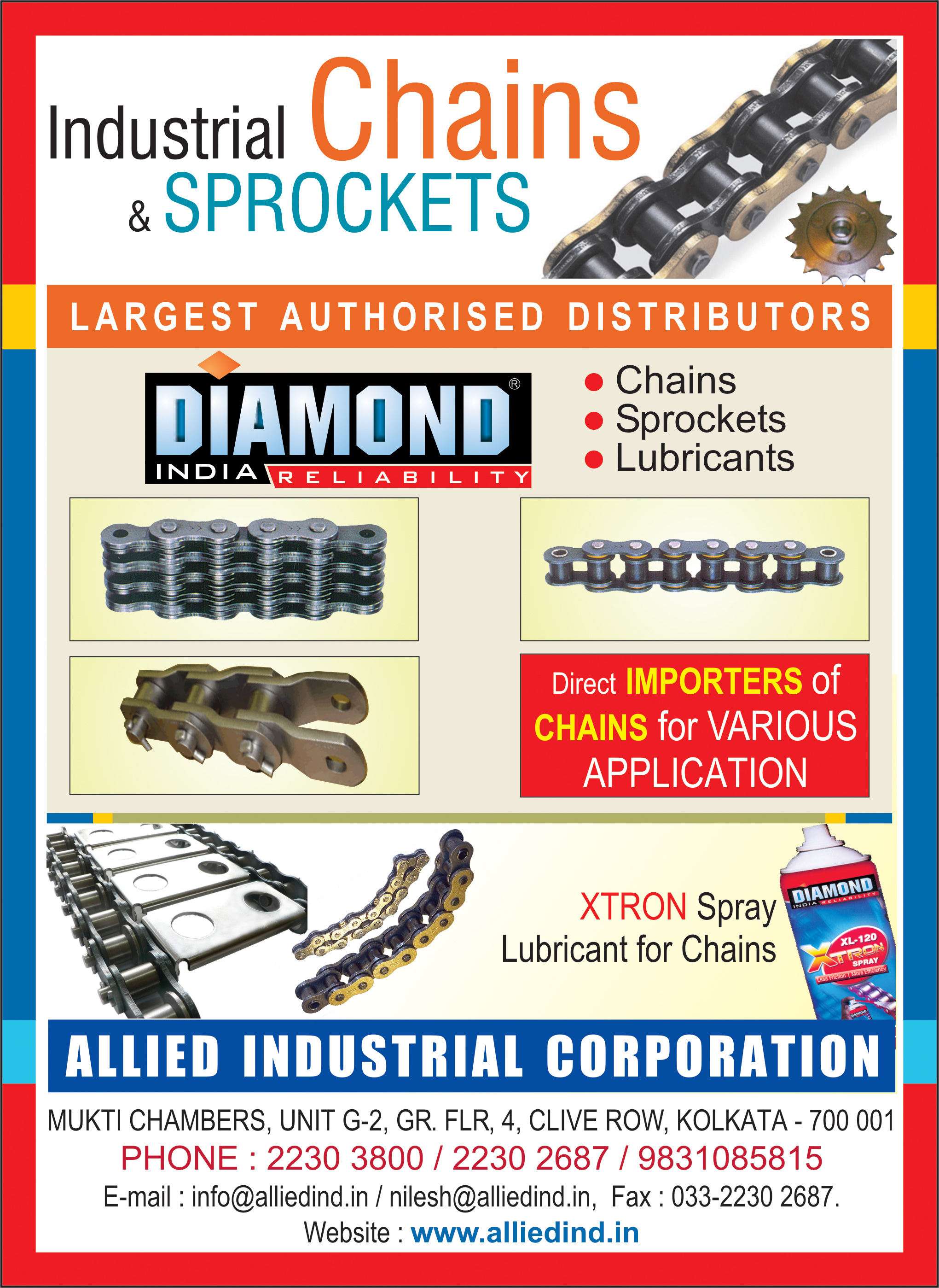 Chains and Sprockets, ALLIED INDUSTRIAL CORPORATION, Kolkata,  Yellow Pages, Kolkata, West Bengal
