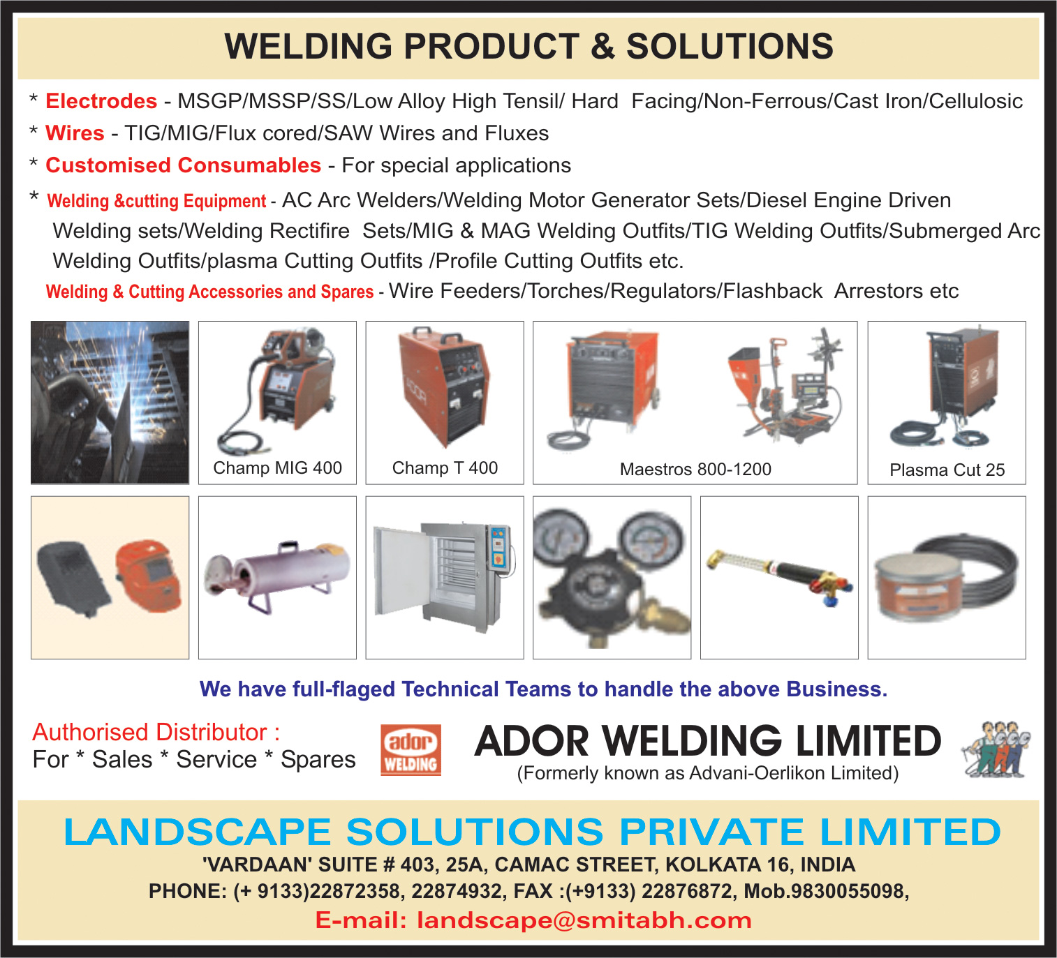 Welding Equipment, LANDSCAPE SOLUTIONS PVT LTD, Kolkata,  Yellow Pages, Kolkata, West Bengal