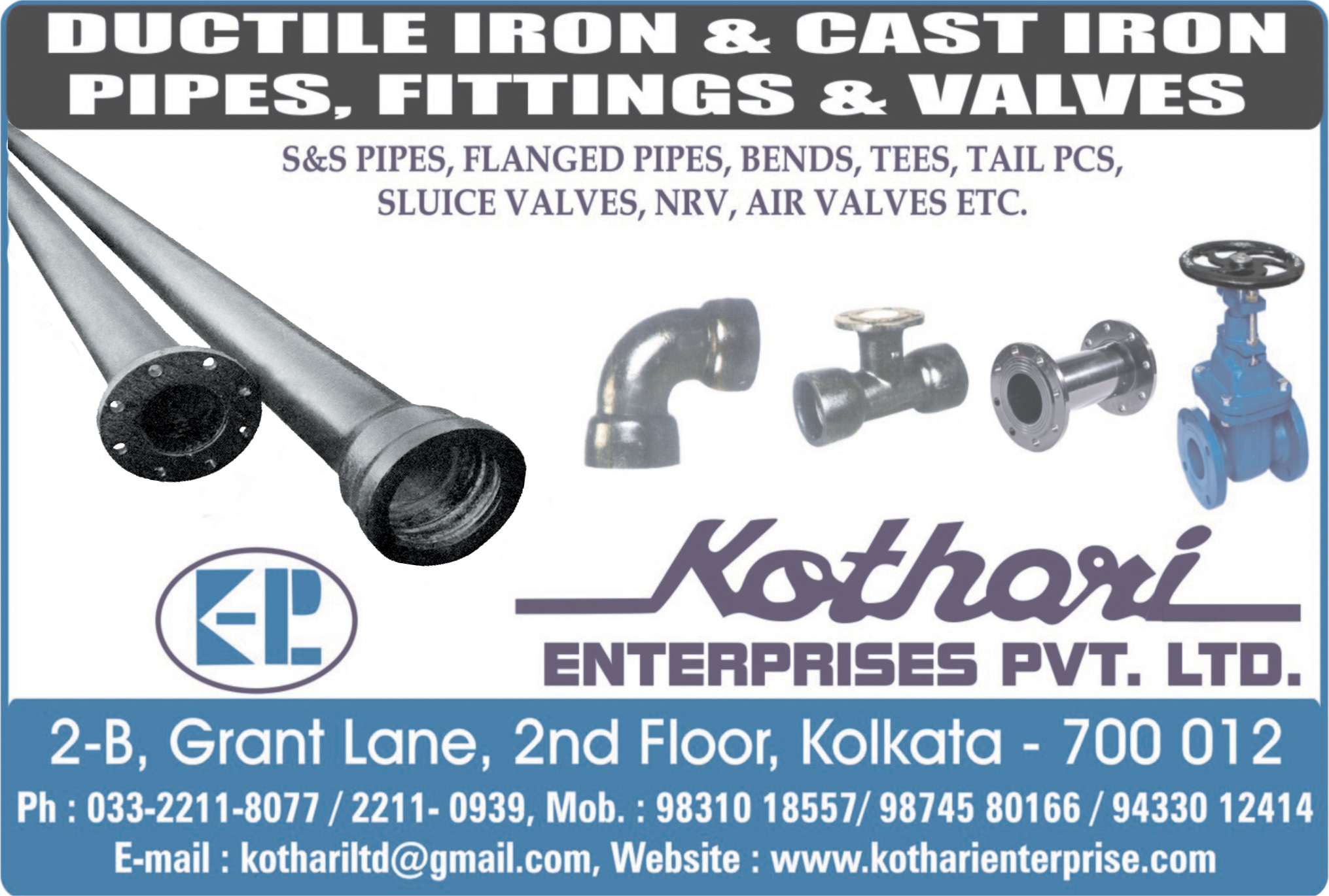 Pipes and Pipe Fittings, KOTHARI ENTERPRISES PVT LTD, Kolkata,  Yellow Pages, Kolkata, West Bengal