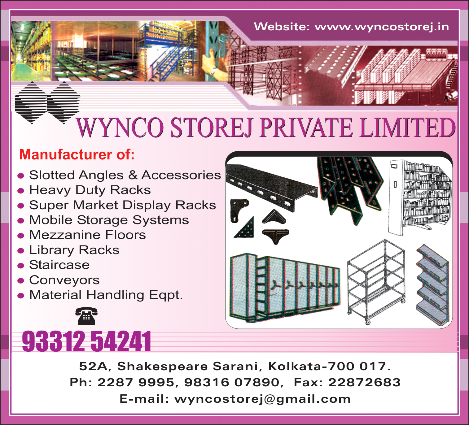 WYNCO STOREJ PVT LTD Slotted Angles Kolkata Yellow Pages Kolkata West Bengal